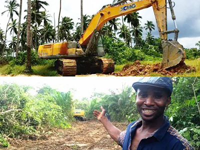 XCMG excavator build road for small village in Africa