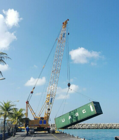 XCMG XGC85 crawler crane build Friendship Bridge for Maldives