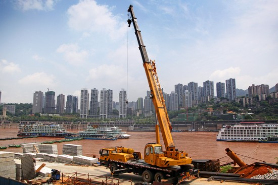 XCMG truck crane working in Wuhan